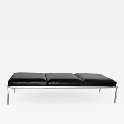 Ilmari Tapiovaara Three seater Stendig Bench in Leather and Chrome by Tapiovaara