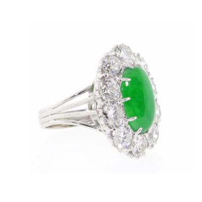 Imperial Jadeite Jade and Diamond Ring