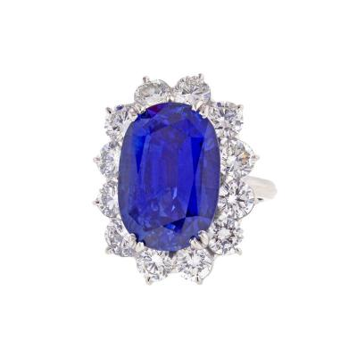 Important 17 Carat GIA Cert Ceylon Sapphire Diamond Ring