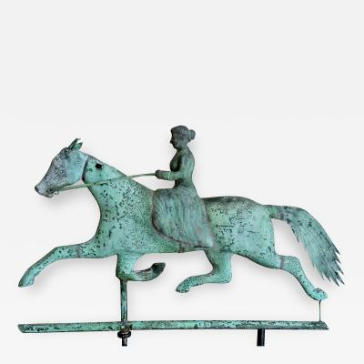Important Copper Zinc Lady Riding Side Saddle on Horse
