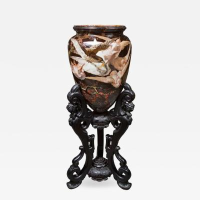 Important Glazed Ceramic Majolica Wear Vase on Stand
