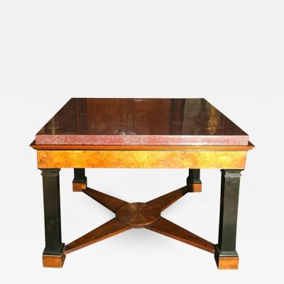 Important Italian Center Table with Imperial Porphyry Veneered Tabletop