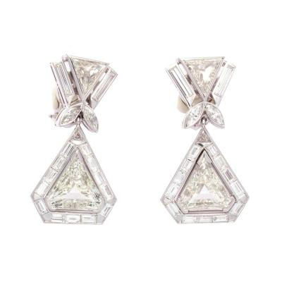Important Large Diamond Platinum Earrings