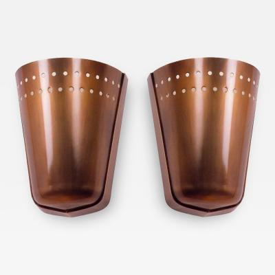 Important Modernist Pair of Oxidized Brass Sconces France 1950s