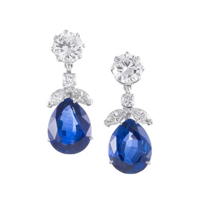 Important No Heat Sapphire and Diamond Earrings