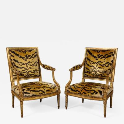 Important Pair of Louis XVI Giltwood Chairs by Jacob