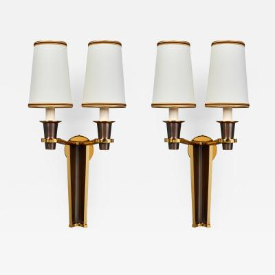 Important Pair of Two Tone Sconces France 1950s