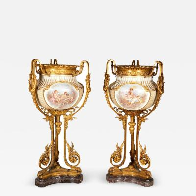 Important and Monumental Pair of Ormolu and S vres Style Porcelain Jardinieres