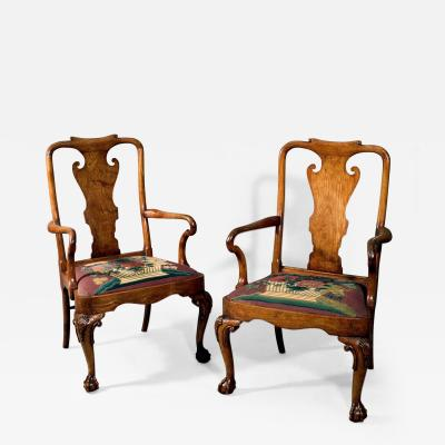 Important and Rare Pair of Chinese Export Padouk Wood Armchairs