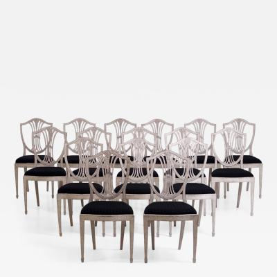 Important set of 16 Gustavian style side chairs