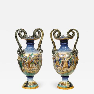 Imposing Pair of Large Antique Italian Majolica Snake Handled Vases