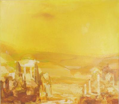 Impressionist Oil Painting of an Aegean Temple