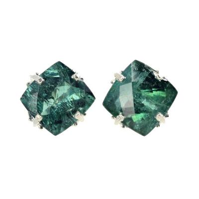 Impressive 15 75Ct Translucent Green Tourmaline Silver Earrings