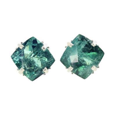 Impressive 15 75Ct Translucent Green Tourmaline Silver Earrings