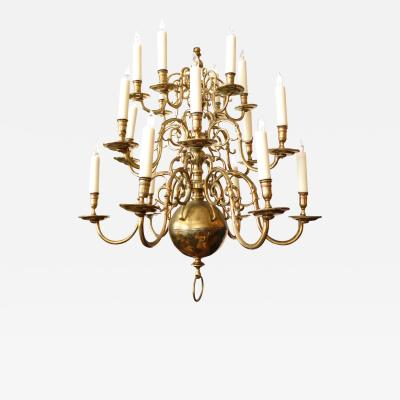 Impressive Dutch Three tier Brass 18 light Chandelier