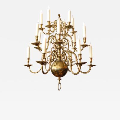 Impressive Dutch Three tier Brass 18 light Chandelier