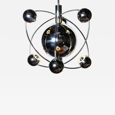 Impressive Italian Mid Century Modern Chrome Chandelier