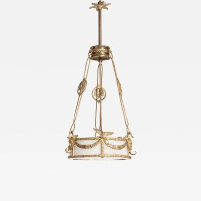 Impressive Napoleon III Chandelier Firegilded Bronze with Alabaster