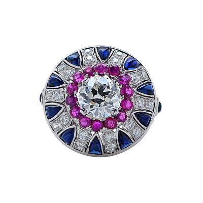 Impressive Platinum Deco Diamond Ruby Sapphire Ring V11152