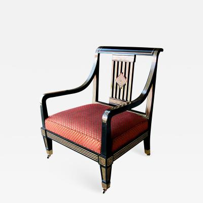 Impressive Russian Neoclassical Style Black Lacquer Armchair with Brass Inlay