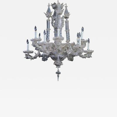 Impressive Venetian glass 12 light chandelier with dolphin form arms