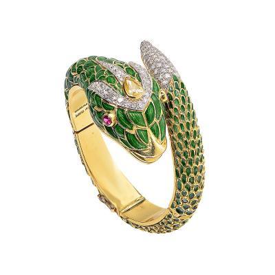 Impressive Vintage Hand Made Enamel Snake Bracelet V13672