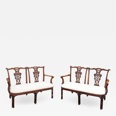 Impressive and Highly Attractive Pair of Walnut Double Chair Back Settees