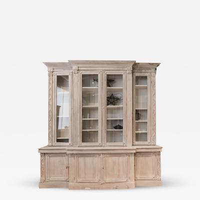 Impressively Sized French Carved 4 Door Breakfront Bookcase