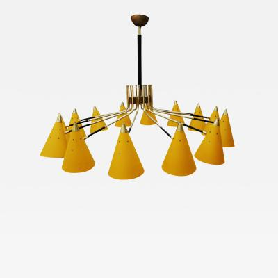 In the style Mid Century Modern Italian Yellow Metal and Brass Pendant Lamp