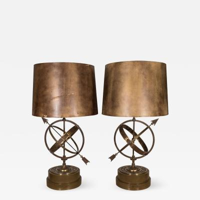 Incredible Pair of 1940s Astrological Armillary Lamps