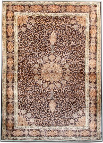 India Pure Silk Agra Rug 124 X 181 Cm