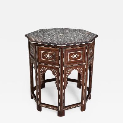 Indian Bone Inlaid Sandalwood Octagonal Table