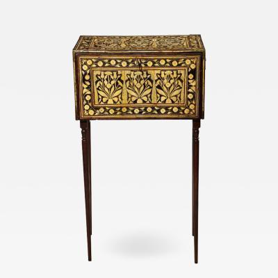 Indo Portuguese Bone Inlaid Fall Front Cabinet Mughal India 17th 18th Century