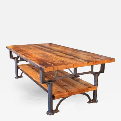 Industrial Reclaimed Wood Plank Top Conference Table Kitchen Island
