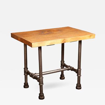 Industrial Style Wood Steel Metal Display End Table