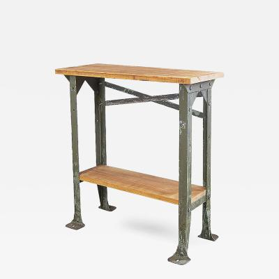 Industrial Two Tier Wood and Metal Side Table