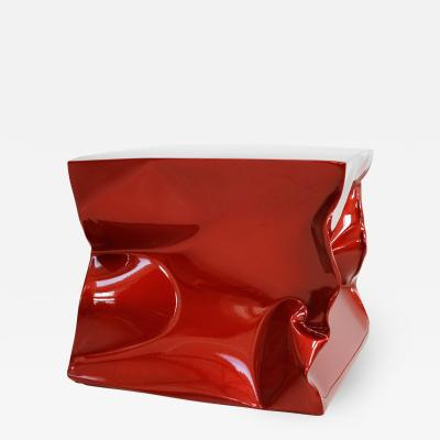 Ines Benavides Contemporary Modern Sculptural Metal Lacquered Red Seat Side Table