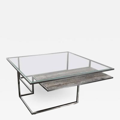 Infinity Coffee Table in Hand Polished Stainless Steel and Travertine Marble
