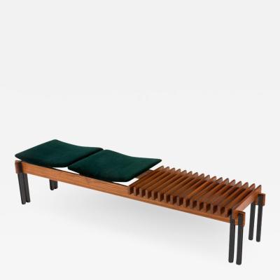 Inge and Luciano Rubino Slatted Teak Bench with Velvet Seats by Inge Luciano Rubino Italy 1960s