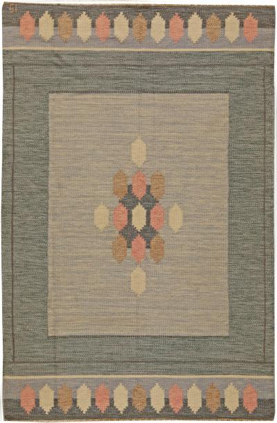 Ingegerd Silow Vintage Swedish Flat Weave Rug Signed by Ingegerd Silow