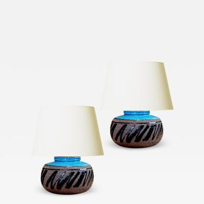 Inger Persson Pair of Vibrant Petite Table Lamps by Inger Persson