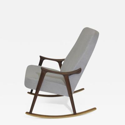 Ingmar Relling Scandinavian Highback Rocking Chair in Alpaca Mohair