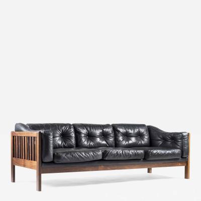 Ingvar Stockum Scandinavian Rosewood and Black Leather Sofa Monte Carlo 1965