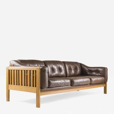 Ingvar Stockum Swedish Mid Century Sofa in Oak and Leather Monte Carlo 1965