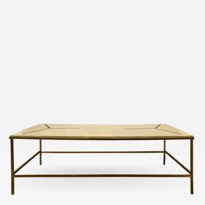 Inlaid Brass and Terrazzo Coffee Table