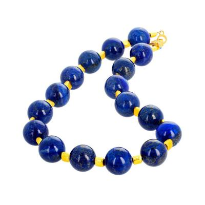 Intense Blue Metamorphic Rock Lapis Lazuli and Goldy Nugget Necklace