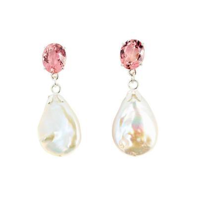 Intense Morganites Drop Ocean Cultured Pearls Silver Earrings