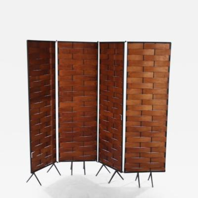 Interesting Four Panel Mid Century Modern Wrought Iron and Ribbon Wood Screen