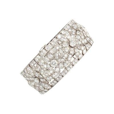 Intricate French Art Deco Diamond Platinum Bracelet