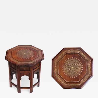 Intricately Designed Anglo Indian Inlaid Octagonal Traveling Table